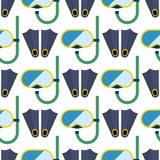 Snorkeling or scuba fins or flippers underwater swimming deep professional shoe exercise seamless pattern background. Vector illustration. Water sport footwear Stock Photography