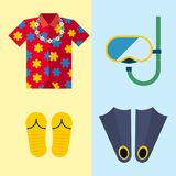 Snorkeling or scuba fins or flippers underwater swimming deep professional shoe exercise summer cloth vector. Illustration. Water sport footwear equipment Royalty Free Stock Photos