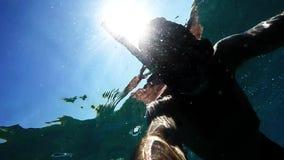 Snorkeling at seaside stock video footage