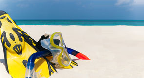 Snorkeling set on the the beach Royalty Free Stock Images