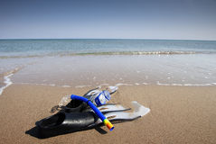 Snorkeling set on the the beach Royalty Free Stock Photo