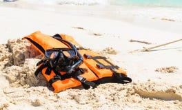 Snorkeling set and life jacket Stock Photos