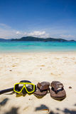 Snorkeling set and thongs shoe Royalty Free Stock Images