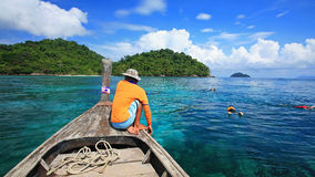 Snorkeling spot at crystal sea in Koh Surin Stock Photography