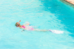 Snorkeling in swimming pool Stock Images