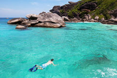 Snorkeling in Thailand. Snorkeling on Similan islands in Andaman sea, Thailand Royalty Free Stock Photos