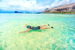 Snorkeling and travel lifestyle, water sport outdoor activities, swimming days on summer holiday Royalty Free Stock Photos