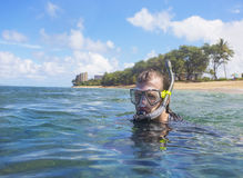 Snorkeling on a tropical island Royalty Free Stock Photography