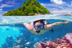 Snorkeling in the tropical water Royalty Free Stock Images