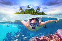 Snorkeling in the tropical water Royalty Free Stock Image