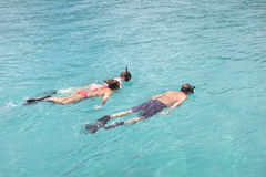 Snorkeling in the tropics. Family on vacation snorkeling in beautiful and clear tropical water Stock Images