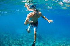Snorkeling Underwater Royalty Free Stock Images