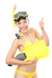 Snorkeling vacation woman isolated Royalty Free Stock Photography