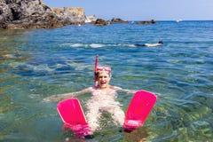 Snorkeling w morzu śródziemnomorskim Obrazy Stock