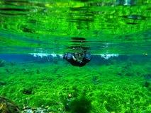 Snorkeling w wiośnie rzeka zdjęcie stock