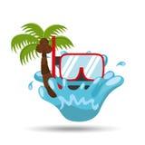 Snorkeling water splash palm summer vacation. Vector illustration Stock Photography