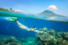 Snorkeling woman above the beatiful coral reef Stock Photo