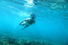 Snorkeling. Woman is snorkeling under water Stock Photos