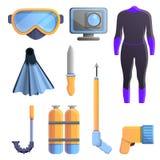 Snorkeling wyposażenie ikony ustawiać, kreskówka styl ilustracji