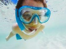 Snorkelling in Aegean sea. Closeup of boy snorkelling in Aegean sea royalty free stock images