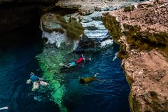 Snorkelling in a cave, Bahia, Brazil stock photography