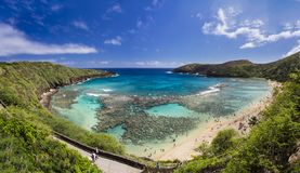 Hanauma Bay, Oahu, Hawaii. Snorkelling at the coral reef of Hanauma Bay, a former volcanic crater, now a national reserve Royalty Free Stock Images