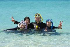 Free Snorkelling Family Stock Photography - 46949242