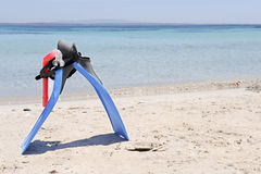 Snorkelling gear. With the sardinian sea on the background royalty free stock photos