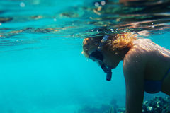 Snorkelling girl Royalty Free Stock Images