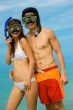 Snorkelling på stranden royaltyfri fotografi