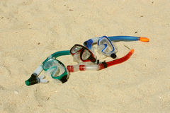 Snorkelling in the sand Royalty Free Stock Photo