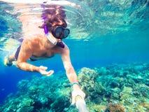 Snorkeln simmar i grunt vatten, Röda havet, Egypten Royaltyfri Bild