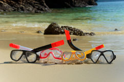 Snorkels on beach Royalty Free Stock Photos