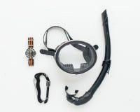 Snorkelutrustning med dykningklockan Fotografering för Bildbyråer