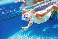 Snorkla för barn som är undervattens- i simbassäng arkivfoto