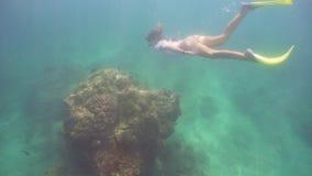 Snorkla för flicka som är undervattens- lager videofilmer
