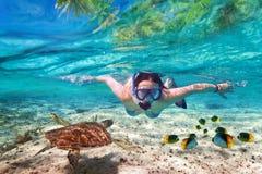 Snorkla i det tropiska havet Royaltyfria Bilder