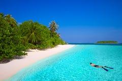 snorkling在有沙滩的热带海岛的年轻人 免版税库存图片