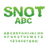 Snot font. Snivel alphabet. Green slime letters. Booger ABC. Sli Royalty Free Stock Photography