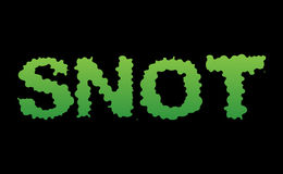 Snot. Green slime letters. Booger slippery lettering. Snvel typo Royalty Free Stock Images