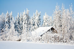 Snovy barn Royalty Free Stock Images