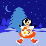 Snow与标志2017年雄鸡鸡蛋例证的Maiden圣诞老人小姐 库存图片