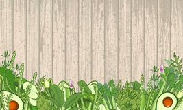 Green vegetables and verdure background - wooden texture vector illustration