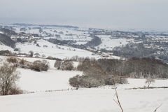 Snow. Ing in the countryside beautiful   landscape Royalty Free Stock Photo