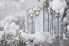Snow. Big snow covered the house Royalty Free Stock Images