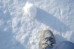 Snow. Under my foot, on alps Royalty Free Stock Photo