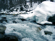 Snow above the river. The snow hangs above stream of the river Royalty Free Stock Photos