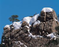 Snow above Rocks Royalty Free Stock Photography