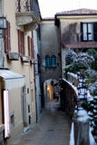 Snow in the alley Royalty Free Stock Image