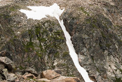 Snow along Beartooth Highway. Snow along the Beartooth Highway in Wyoming Royalty Free Stock Images